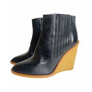 Zara Leather Wedge Booties Pointed Toe Gum Sole 8